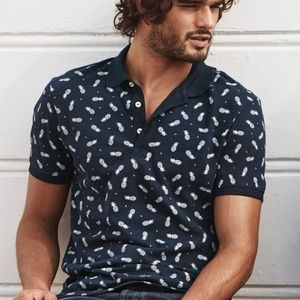 H&M Men's Navy Blue Collared Polo Pineapple Shirt